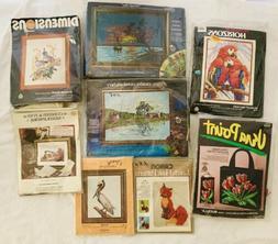Vintage 70s NIP Lot 8 Embroidery Crewel Kits Horizons Parago