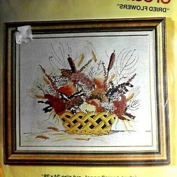Vintage Bucilla Dried Flowers Crewel Needlecraft Kit
