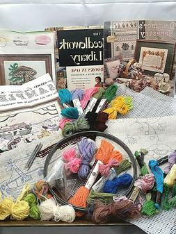 Vintage needlework lot crewel wool embroidery floss sewing a