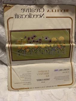 VTG Bucilla Creative Needlecraft Crewel Embroidery Garden Fl
