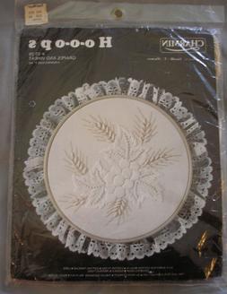 Vtg Janlynn Hoops White on White Crewel Embroidery Kit GRAPE