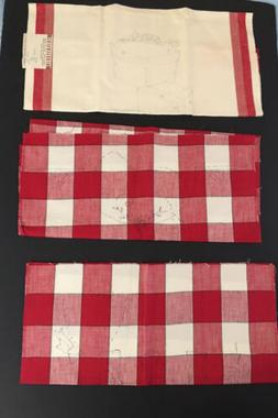 VTG STAMPED DISH TOWELS Embroider Red White Plaid Stripe LOT