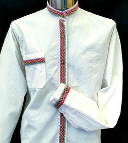 White Guayabera Mexico Casual Shirt Wedding Embroidery butto
