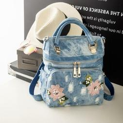 Womens Fashion Embroidery Shoulder Bags Ripped Hole Denim Ha